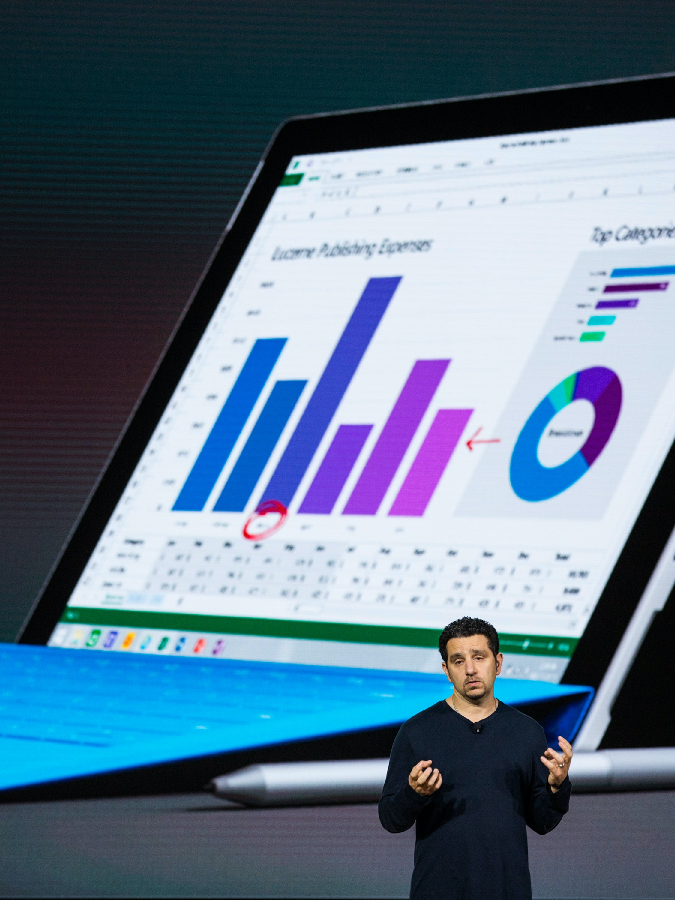 NEW YORK, NY - OCTOBER 06:  Microsoft Corporate Vice President Panos Panay introduces a new tablet titled the Microsoft Surface Pro 4 at a media event for new Microsoft products on October 6, 2015 in New York City. Microsoft also unveiled a virtual reality head set titled the HoloLens, a phone titled the Lumia 950, a laptop titled the Surface Book and a biometrics wristband titled the Band 2.  (Photo by Andrew Burton/Getty Images)