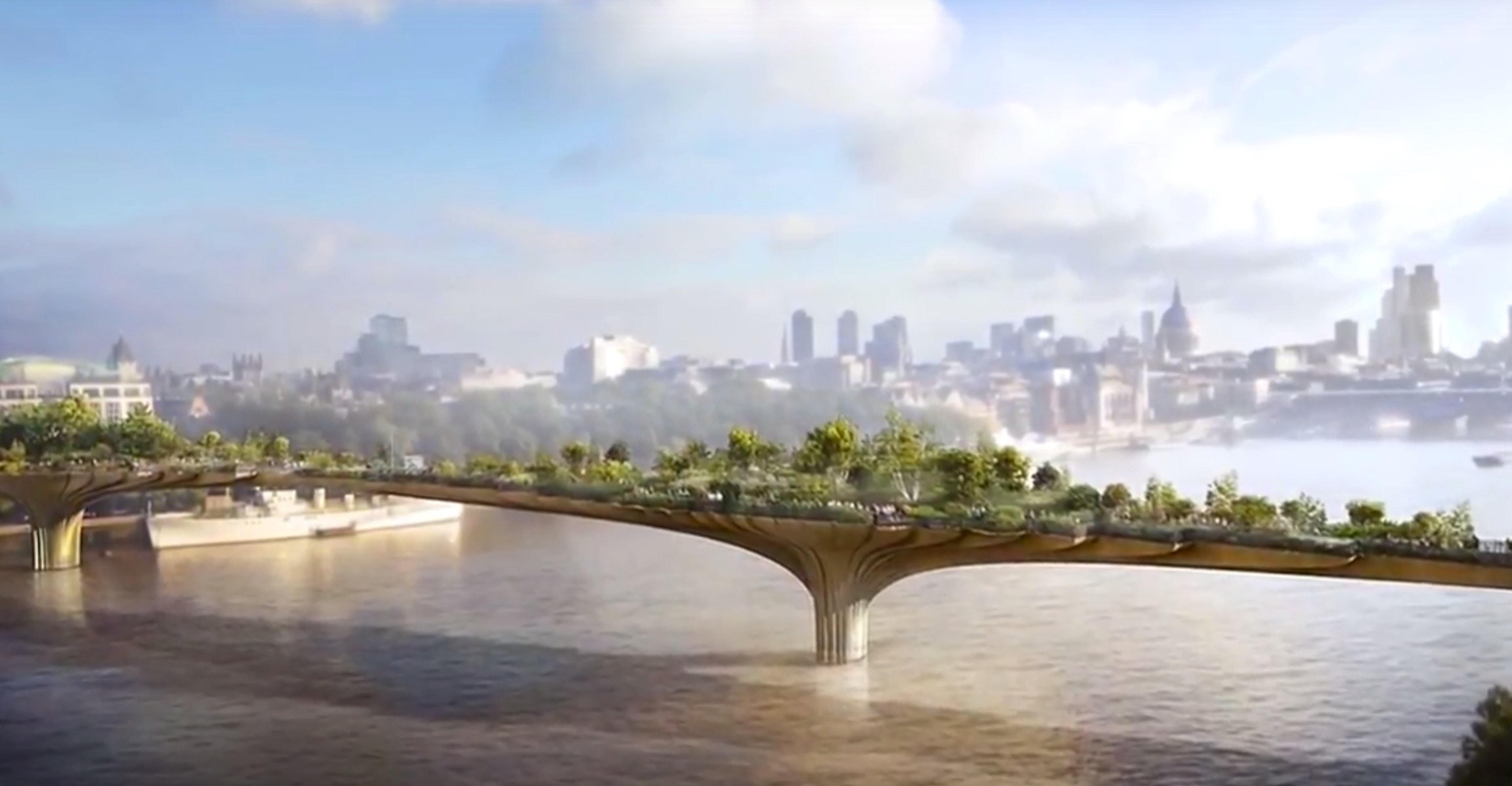 An artist's rendering of the London Garden Bridge