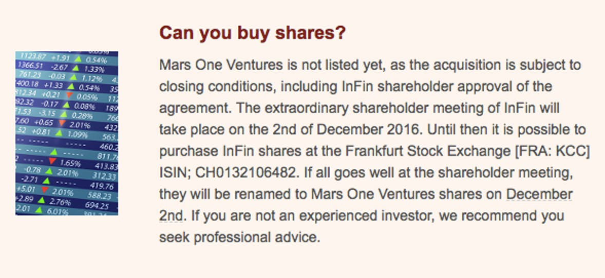 Mars One: Can you buy shares?