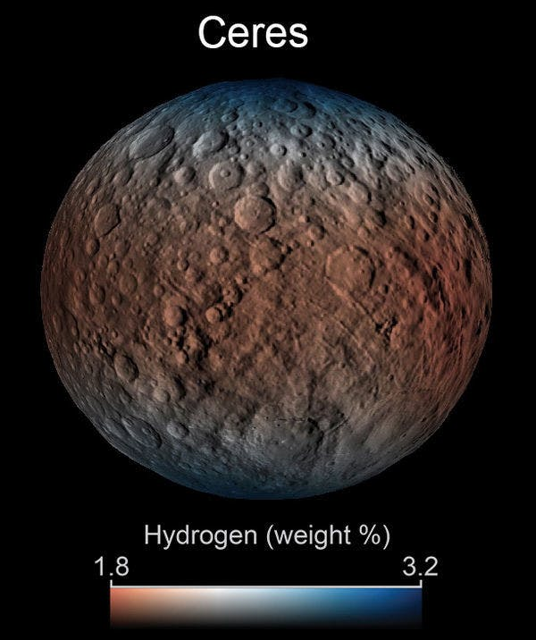 Dawn observed signs of water trapped in minerals on Ceres.