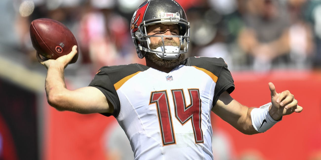 Tampa Bay Buccaneers quarterback Ryan Fitzpatrick (14) throws a pass during the second half of an NFL game between the Philadelphia Eagles and the Tampa Bay Buccaneers on September 16, 2018, at Raymond James Stadium in Tampa, FL. The Bucs defeated the Eagles 27-21.