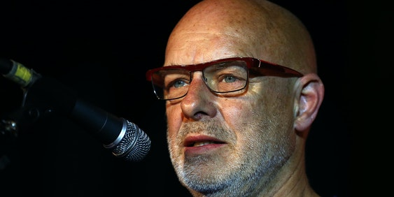 LONDON, ENGLAND - AUGUST 03:  Musician and activist Brian Eno makes a speech in support of Jeremy Corbyn at a Labour party leadership rally on August 3, 2015 in London, England. Candidates are continuing to campaign for Labour party leadership with polls currently putting Jeremy Corbyn in the lead. Voting is due to begin on the 14th of August with the result being announced on the 12th of September. (Photo by Carl Court/Getty Images)