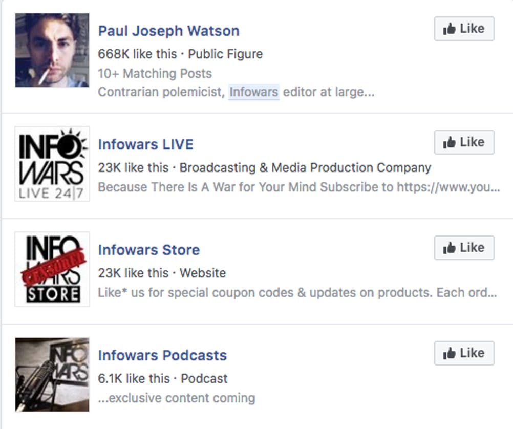 InfoWars pages on Facebook.