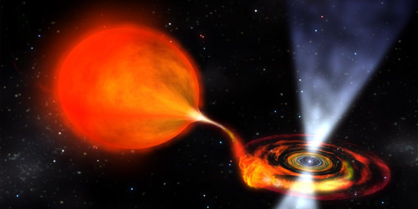 Artist's rendering of a pulsar binary system.