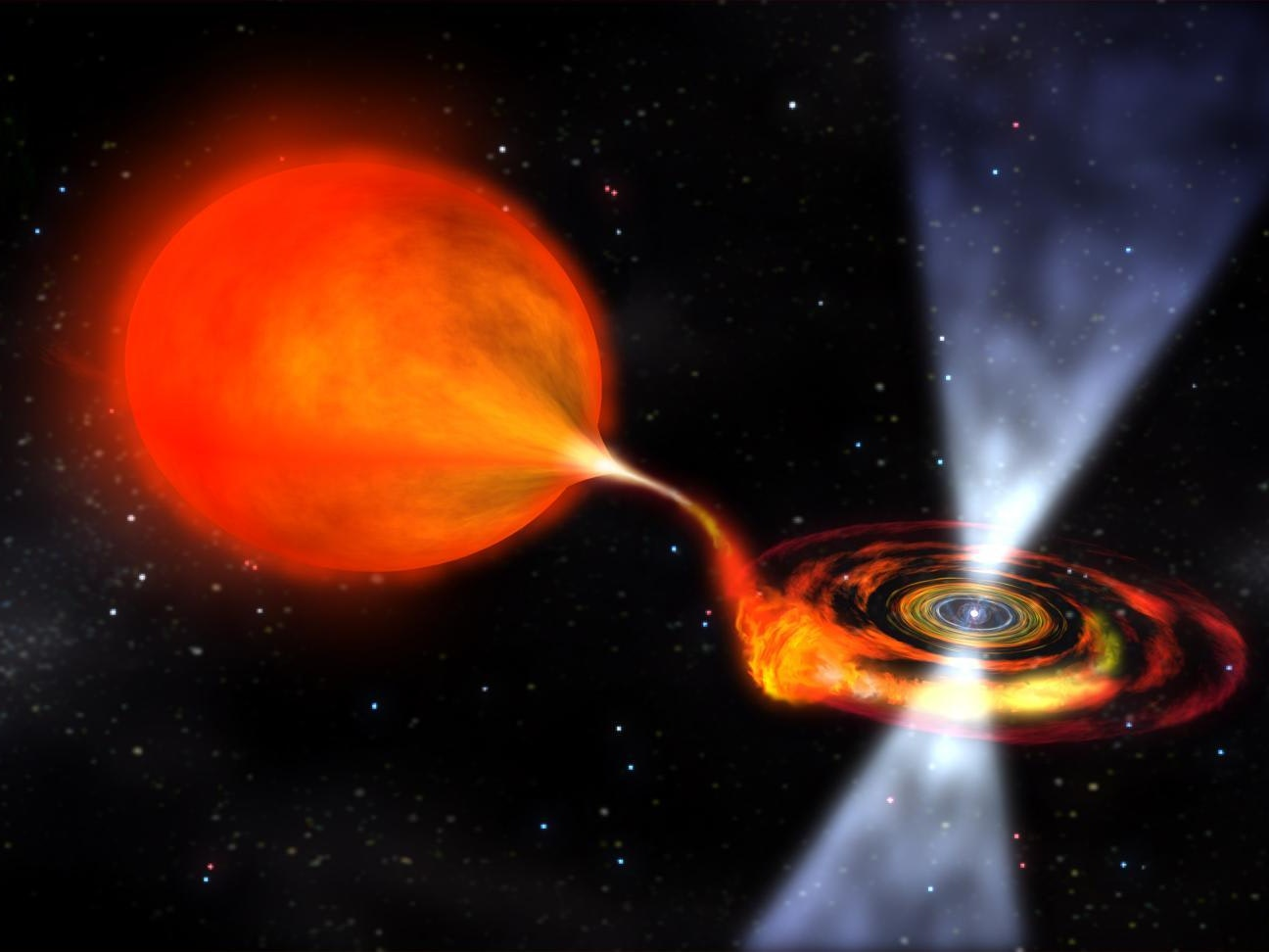 Artist's rendering of a pulsar binary system.