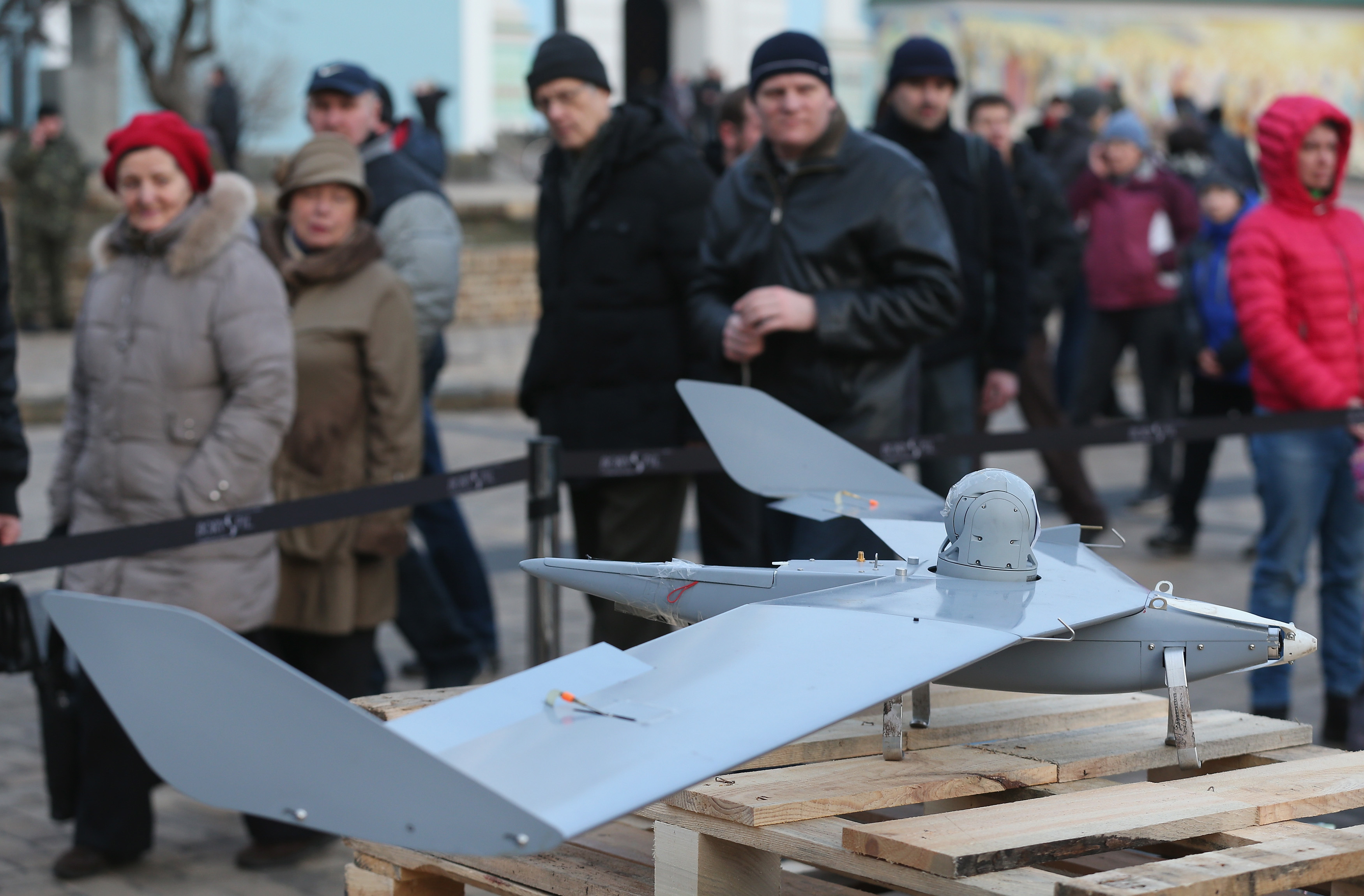 A drone on display in Kyiv, Ukraine, that Ukrainian officials say was recovered from the front lines and proves Russian involvement in the conflict.