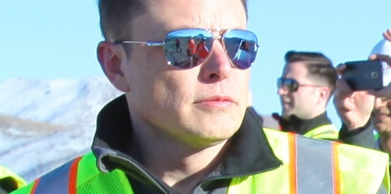 Elon Musk oveseeing the construction of Gigafactory