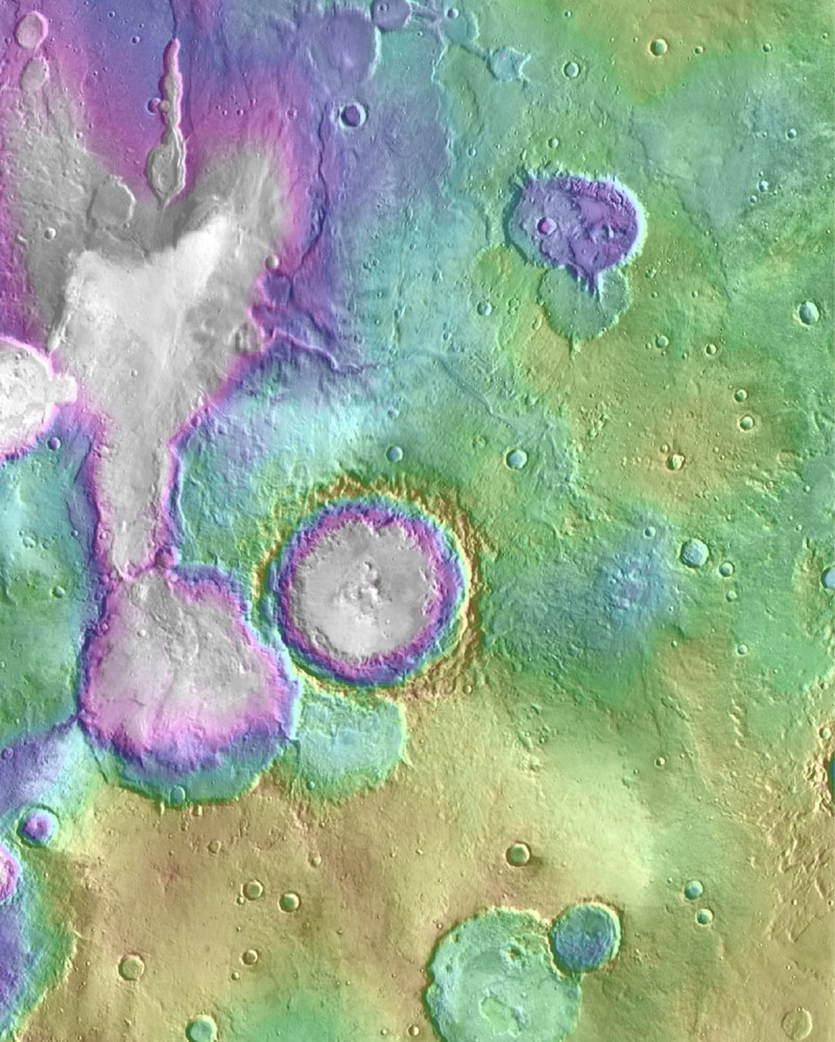 """Valleys much younger than well-known ancient valley networks on Mars are evident near the informally named """"Heart Lake"""" on Mars."""