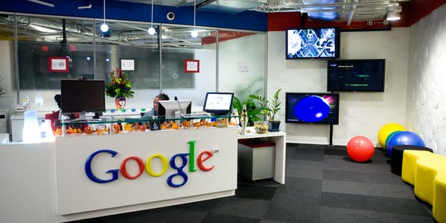 WASHINGTON - DECEMBER 02: The reception area at Google's offices on December 2, 2008 in Washington, DC. Google hosted a roundtable discussion focused on clean energy policy which featured Senate Majority Leader Harry Reid. (Photo by Brendan Hoffman/Getty Images)