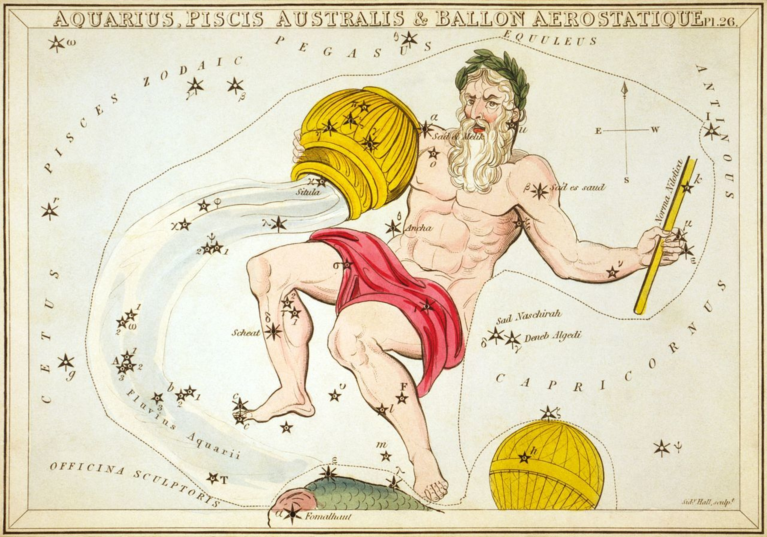 A representation of Aquarius printed in 1825 as part of Urania's Mirror, (including a now-obsolete constellation, Ballon Aerostatique south of it).