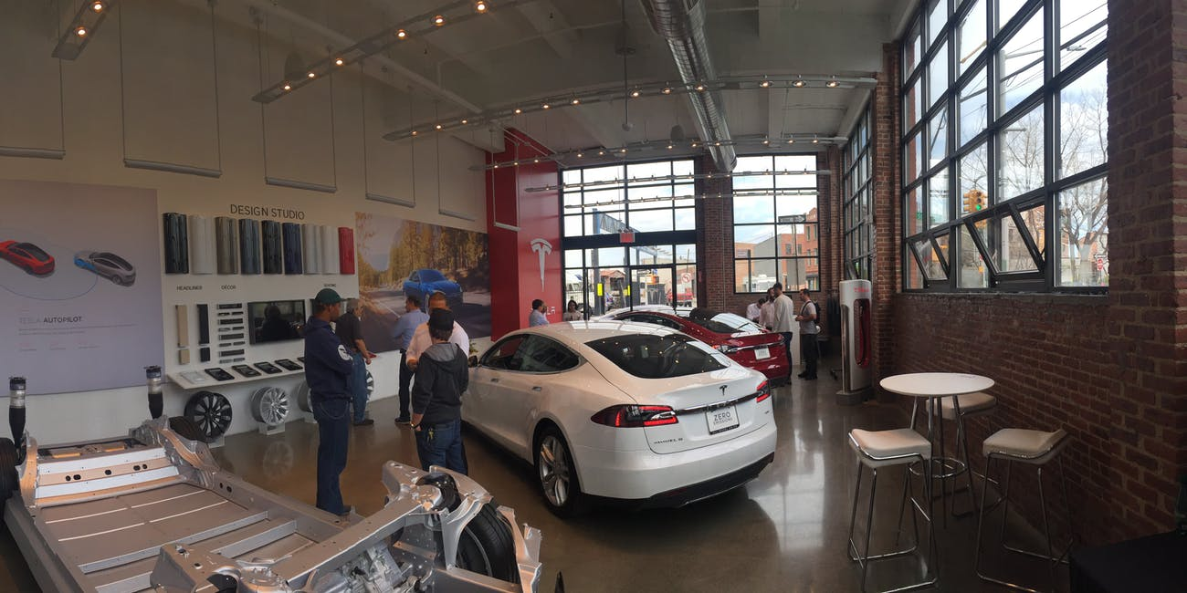 Inside the Tesla Red Hook store on Model 3 reservation day in March, 2016.