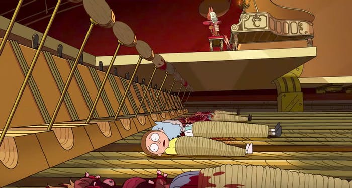 """""""Aw jeez Rick. We're in a giant piano!"""""""