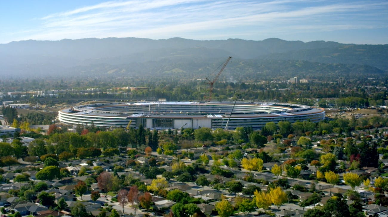 Apple Park under construction.