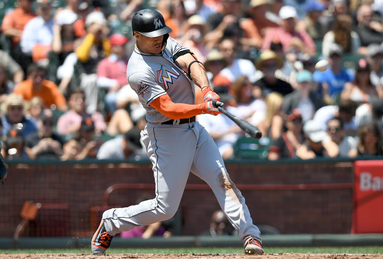 SAN FRANCISCO, CA - JULY 09: Giancarlo Stanton #27 of the Miami Marlins hits a solo home run against the San Francisco Giants in the top of the fifth inning at AT&T Park on July 9, 2017 in San Francisco, California. (Photo by Thearon W. Henderson/Getty Images)