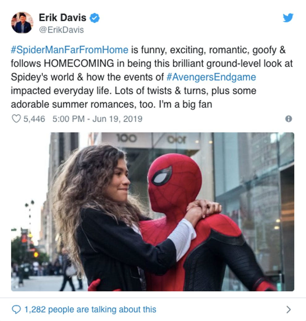 erik davis spider man far from home reaction