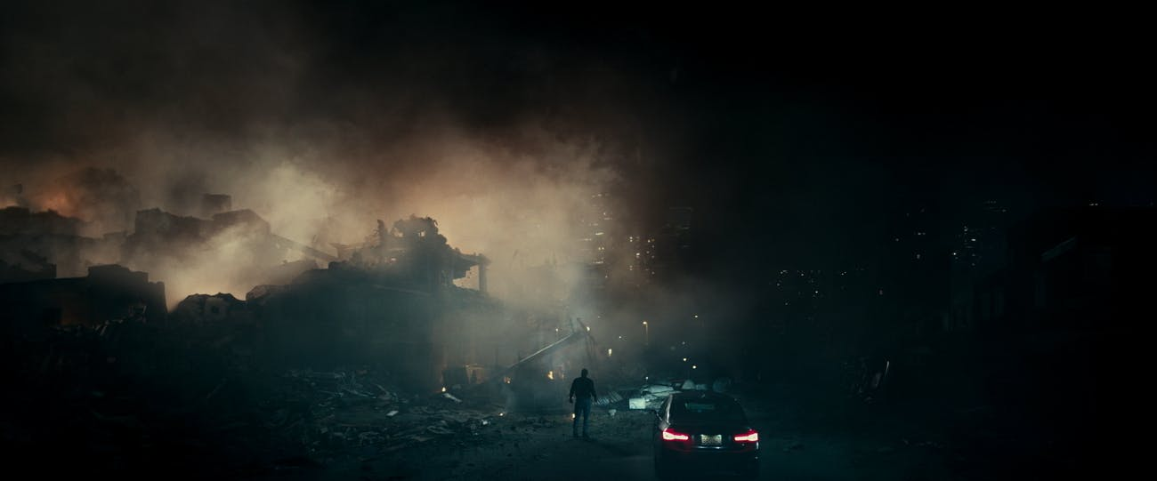 A giant monster plagues a city on Earth in 'The Cloverfield Paradox'.