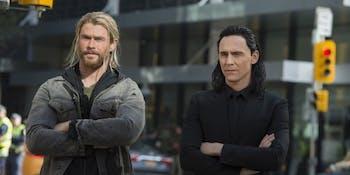Thor and Loki on Earth in 'Thor: Ragnarok'.