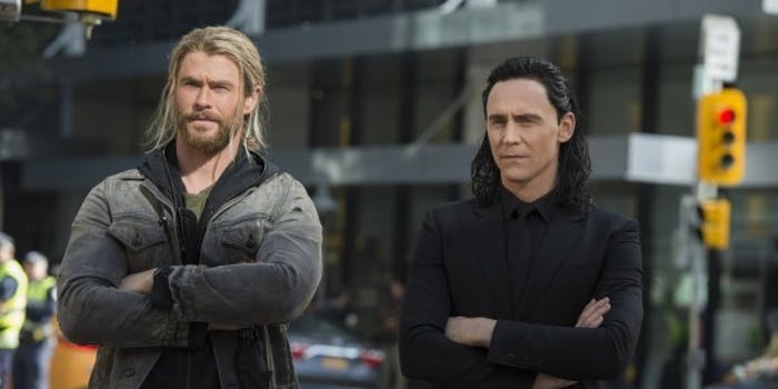 Thor and Loki on Earth in 'Thor: Ragnarok'.