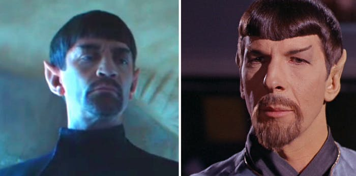 LEFT: Master Sarek of the Mirror Universe. RIGHT: His son in the Mirror Universe, Spock.