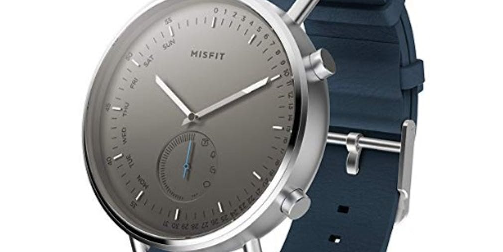 Misfit Command Stainless Steel and Silcone-Backed Leather Hybrid Smartwatch