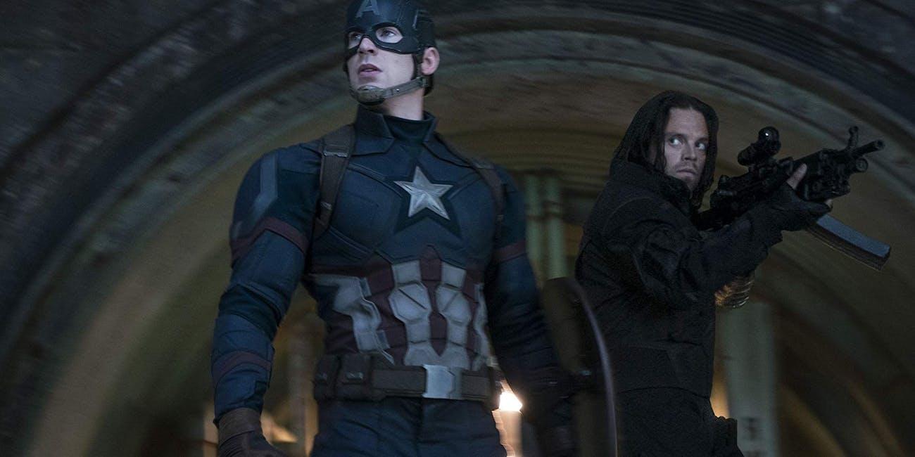 Chris Evans and Sebastian Stan in 'Captain America: Civil War'