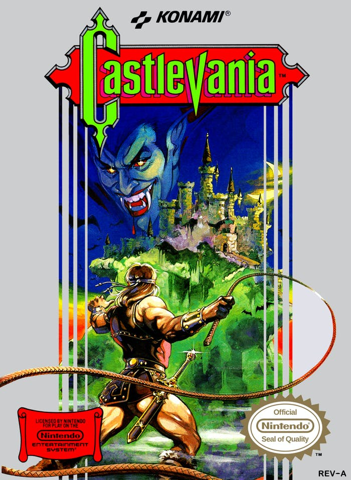 Original box art for 1986 video game 'Castlevania'