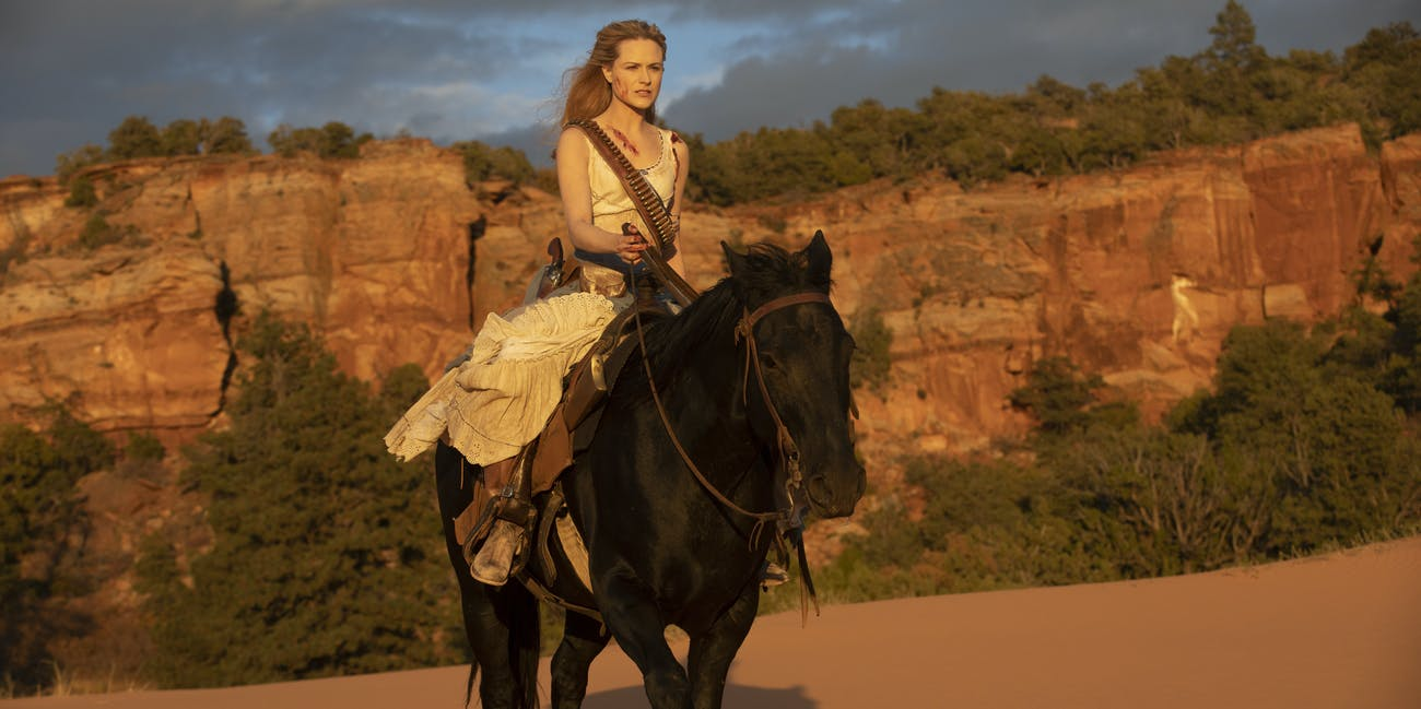 Dolores on her horse on Westworld