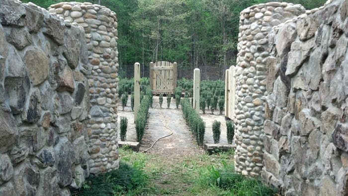 The stone walls in an early stage of John B McLemore's hedge maze.