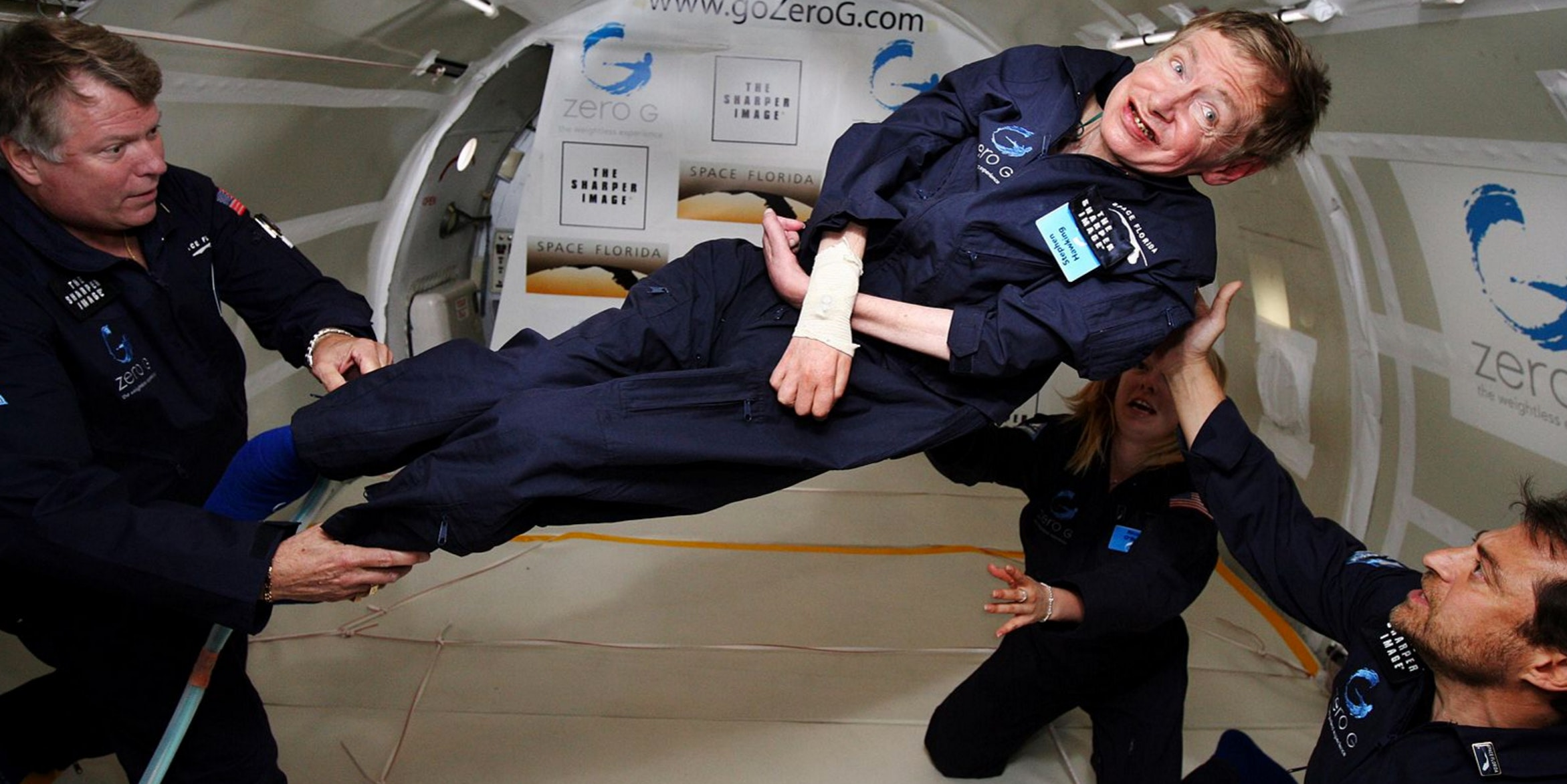 Physicist Stephen Hawking experiences zero gravity.