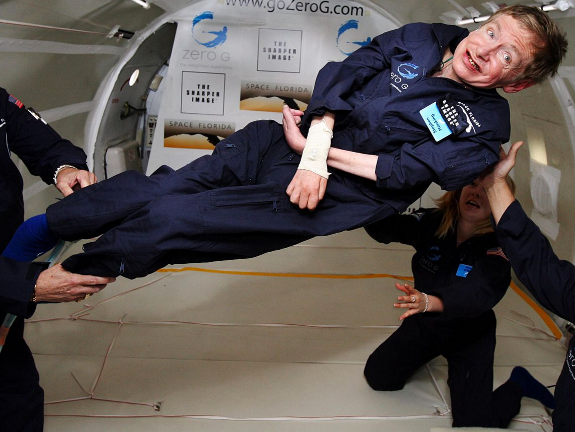 Physicist Stephen Hawking experiences zero gravity.