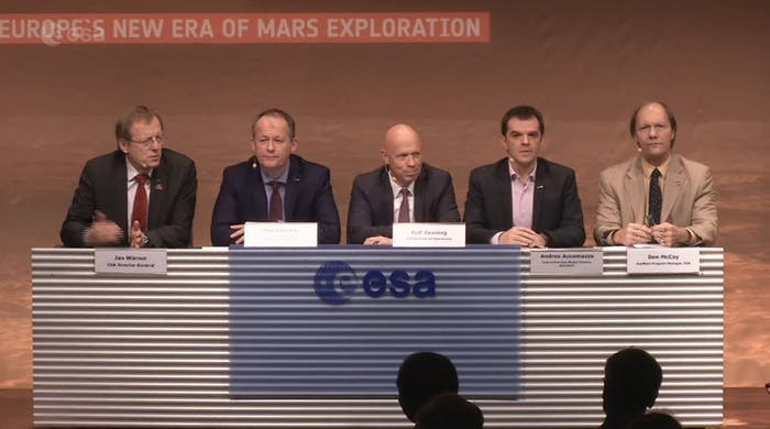 The press conference was attended by ESA director general Jan Woerner, director of human spaceflight David Parker, director of operations Rolf Densing, spacecraft operations manager Andrea Accomazzo, and ExoMars program manager Don McCoy.