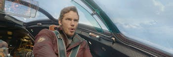 Even when he whoops and hollers, Star-Lord isn't doing it in English.