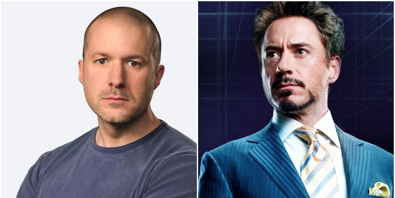 Robert Downey Jr. as Tony Stark in Marvel's Iron Man, and Sir Jony Ive