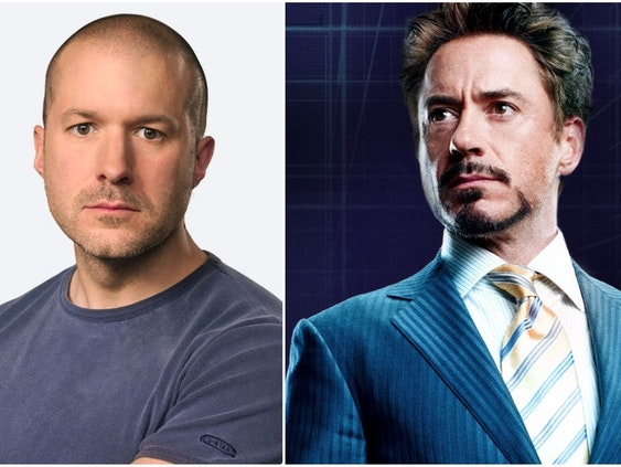 Robert Downey Jr. as Tony Stark in Marvel's Iron Man, and Sir Jony Ive