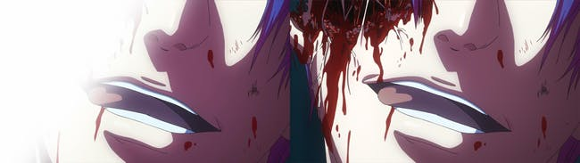 Some light shading obscures a face injury in the censored version of 'Tokyo Ghoul.'