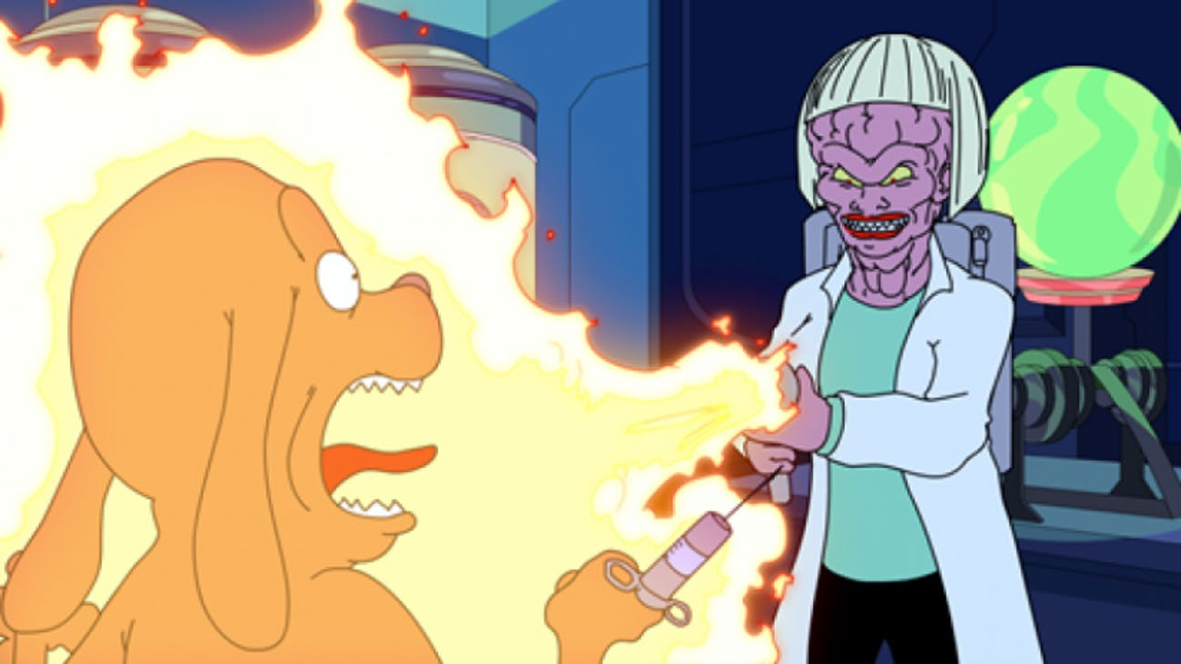 This character from 'Hot Streets' clearly got fashion tips from Rick Sanchez.