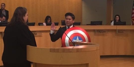 Politician Defiantly Swaps Bible for Captain America's Shield