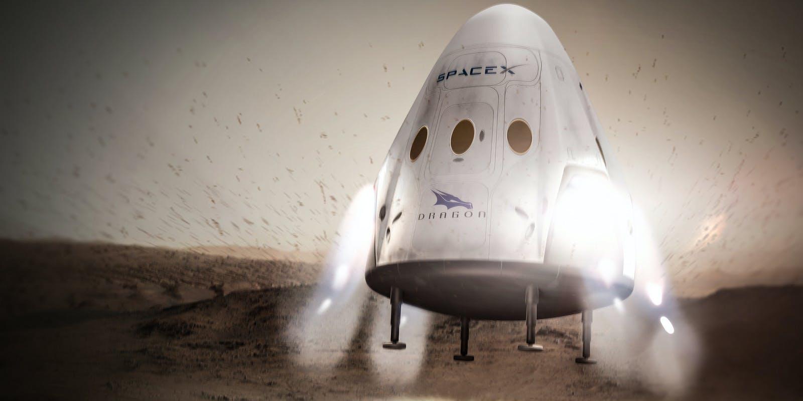 Concept art of Dragon spacecraft landing on Mars