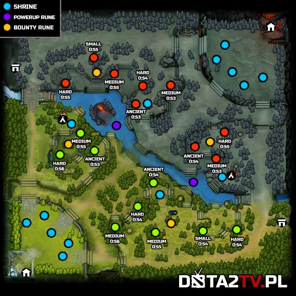 The new map, with creep spawns and pull timers marked.