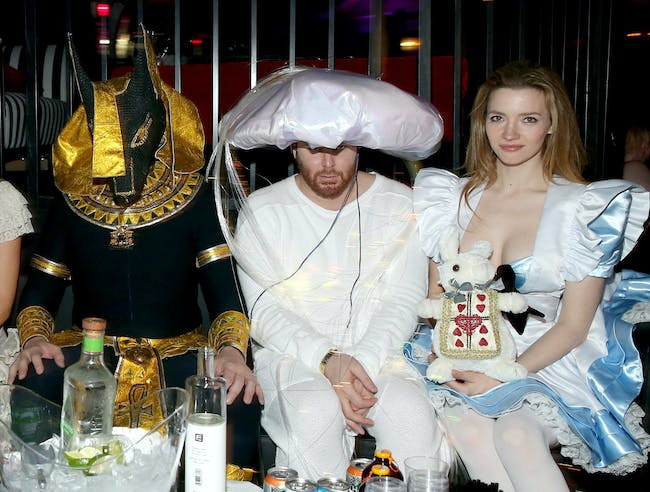 Elon Musk, entrepreneur Sean Parker, and actress Talulah Riley attend the annual Halloween Party, hosted by Playboy and Hugh Hefner, at the Playboy Mansion on October 24, 2015