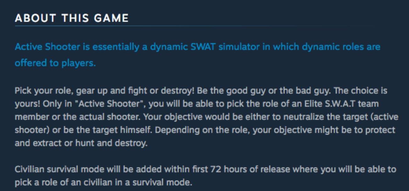 The description for 'Active Shooter'