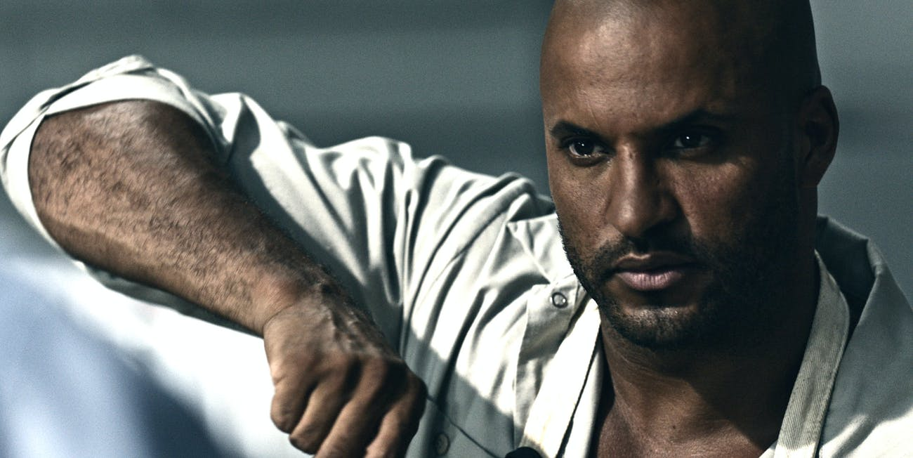 Ricky Whittle as Shadow Moon and Jonathan Tucker as Low Key Lyesmith in 'American Gods'