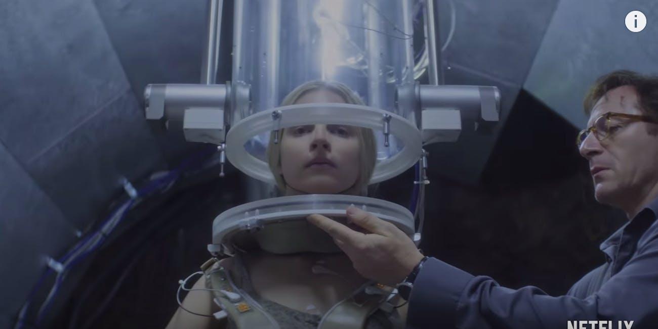 "Britt Marling and Jason Isaacs in ""The OA"""