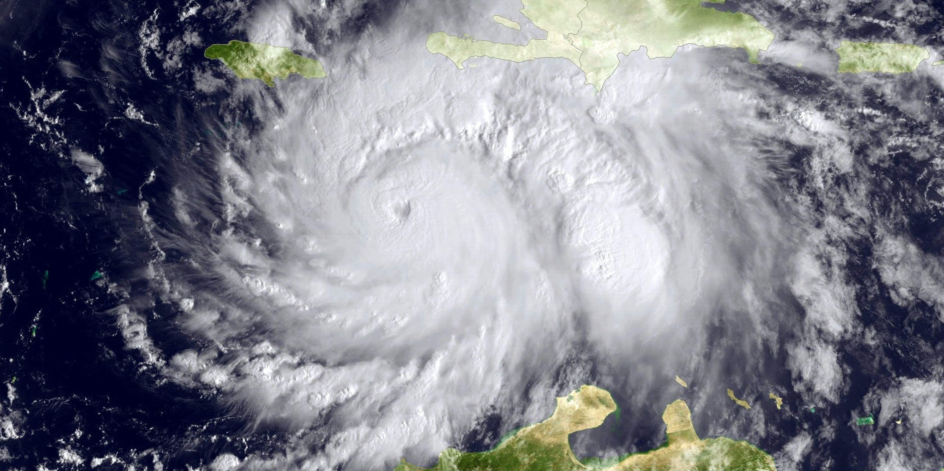 View of Hurricane Matthew seen by the GOES satellite as it barreled towards land on October 3.