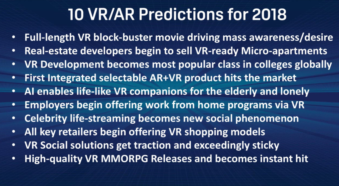 Graylin's 2018 predictions for VR and AR.