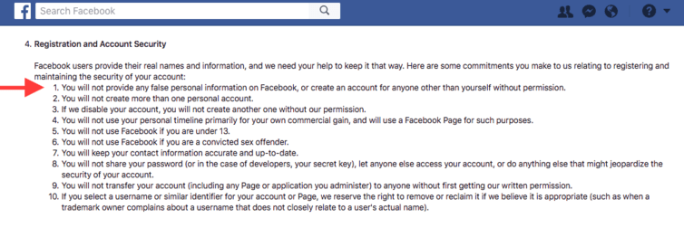 Facebook's Terms of Service include provisions raising privacy concerns.