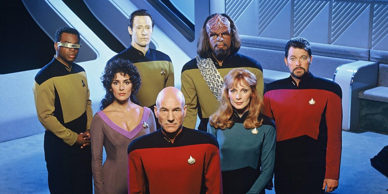 The crew of 'Star Trek: The Next Generation' in season 6 in 1992.