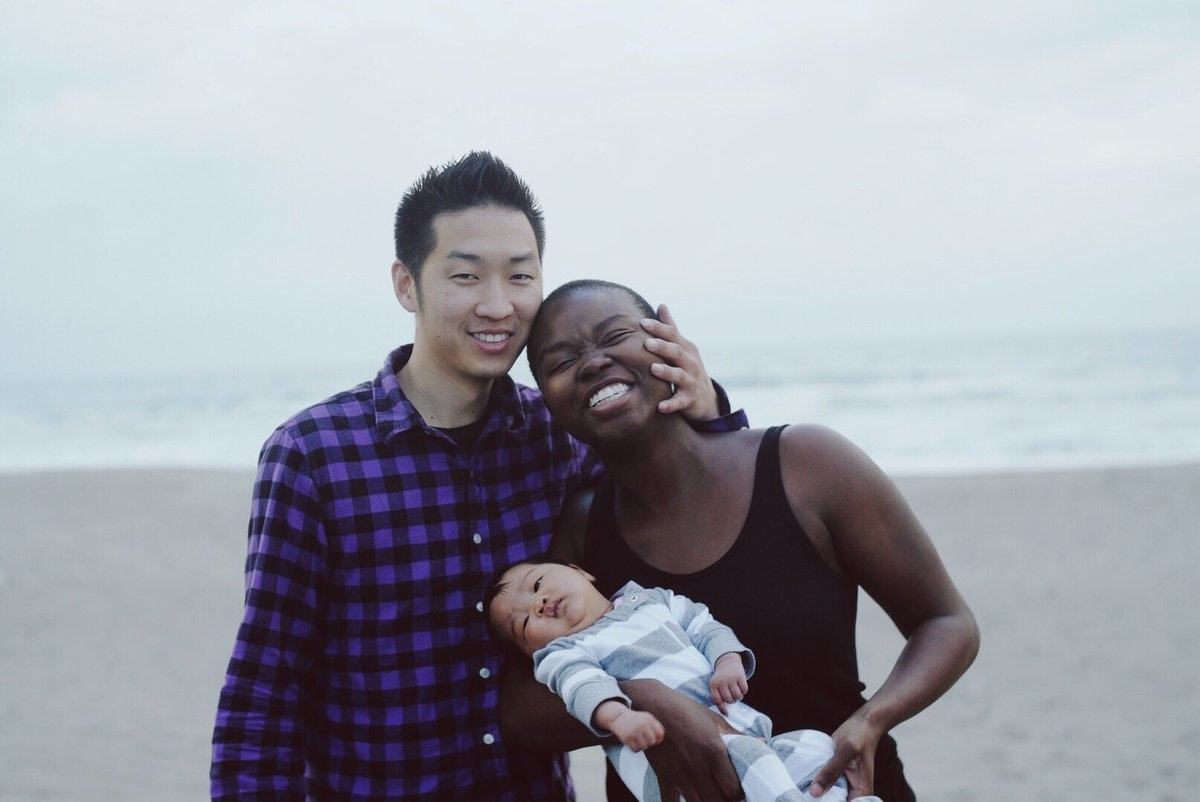 Asian men and african