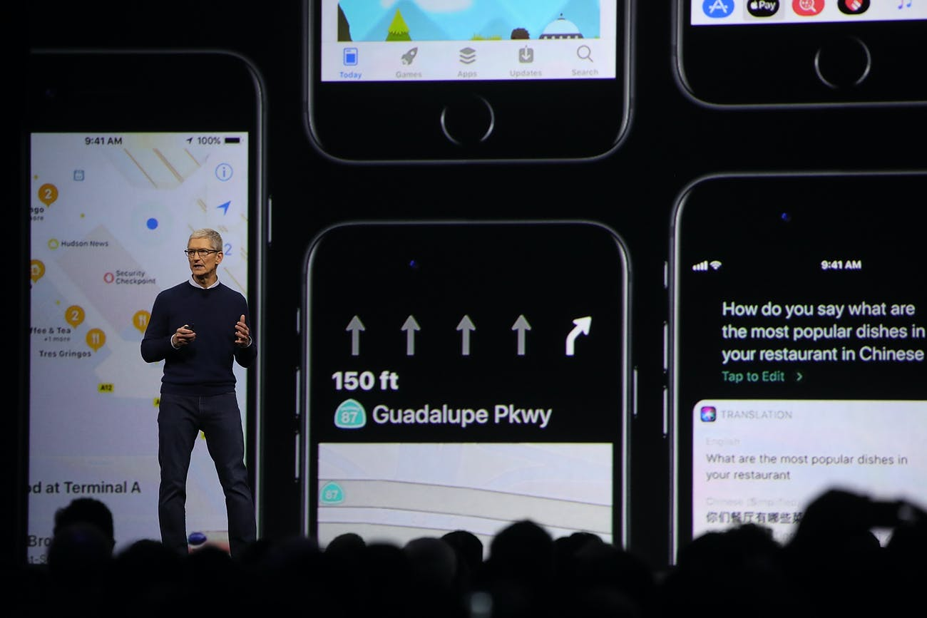 Tim Cook introducing iOS 11 at WWDC developer conference in June.