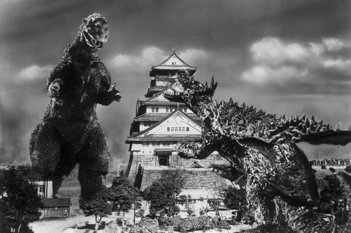 Godzilla and Anguirus demolish Osaka Castle in 'Godzilla Raids Again.'